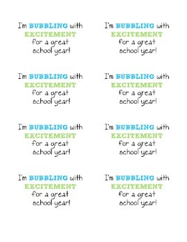 Bubbling with Excitement Tag