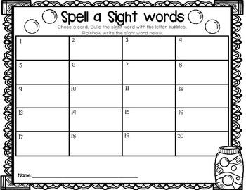 Bubbling with Sight Words-Teacher Appreciation FREEBIE #5