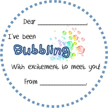 'Bubbling with excitement' gift tag