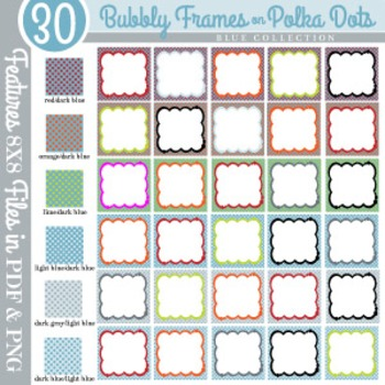 Bubbly Frames on Polka Dots BLUE COLLECTION