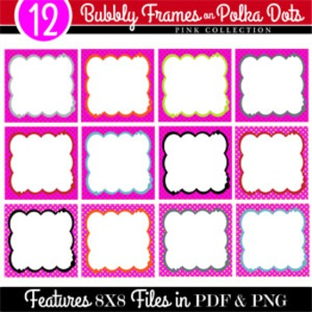 Bubbly Frames on Polka Dots PINK COLLECTION