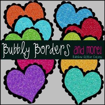 Bubbly Rainbow Glitter Hearts Clipart {Commercial}