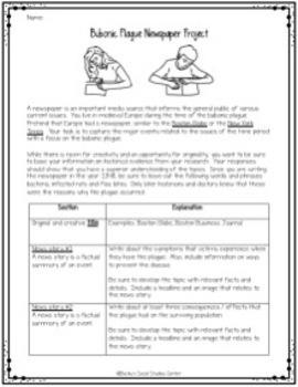 Bubonic Plague / Black Death Project - Create a Newspaper