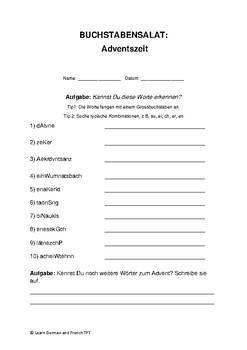Buchstabensalat Adventszeit / Vocabulary Advent German