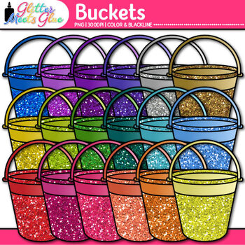 Sand Bucket Clip Art {Glitter Pail Graphics for Classroom