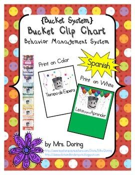 Bucket Clip Chart Behavior Management SPANISH