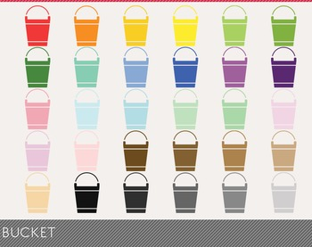 Bucket Digital Clipart, Bucket Graphics, Bucket PNG, Rainbow Bucket Digital