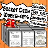 Bucket Drumming Worksheets - Tests Quizzes Homework Class Reviews or Sub Work!