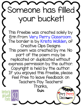 Bucket Filler- A Teacher Kindness Freebie