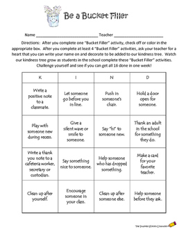 Bucket Filler Bingo