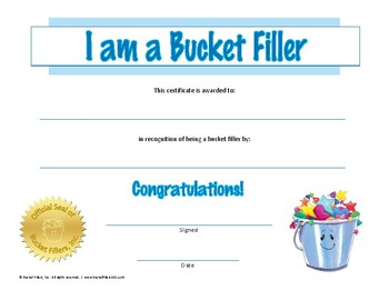 "Bucket Filler - ""I am a Bucket Filler"" Award Certificate"