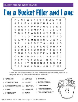 Bucket Filler - Bucketfilling Word Search