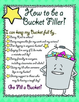 Bucket Filling Poster, Pennants, and Nomination Form- Great for Character Ed.
