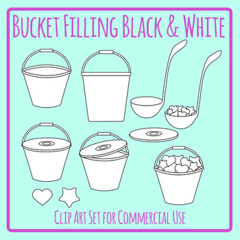 Bucket Filling and Fillers - Friends Black and White / Line Art Clip Art Set
