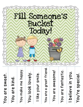 Printable Bucket Filling tear off poster