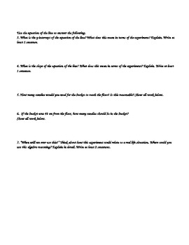 Bucket Lab Common Core Rich Task: Linear Equation, Table and Graph