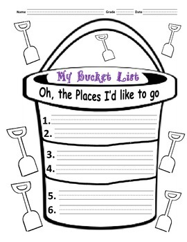 Bucket List based on Dr. Seuss Book