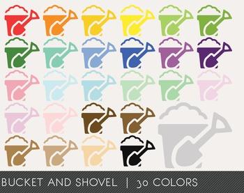 Bucket and Shovel Digital Clipart, Bucket and Shovel Graphics