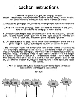 Bucket of Flowers: Measuring with gallon, quart, pints, and cups