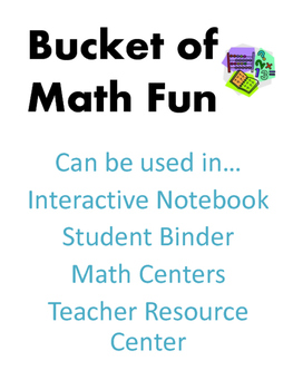 Bucket of Math Fun - Math Tools - Interactive Notebook - Centers