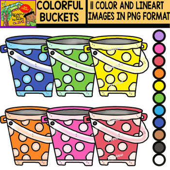 Buckets - Colorful cliparts Set - 11 Items