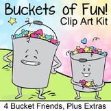 Buckets of Fun Clip Art, Bucket Themed Characters, Hearts,