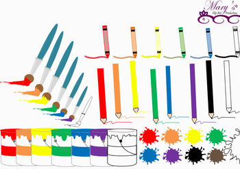 Buckets of Paint, Paintbrushes - Clip Art