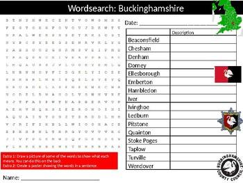 Buckinghamshire Wordsearch Puzzle Sheet Keywords England British History