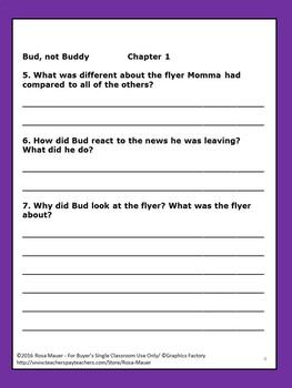 Bud, Not Buddy Book Study