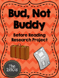 Bud, Not Buddy Before Reading Research Activity