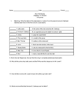Bud, Not Buddy Chapter 11-15 Quiz