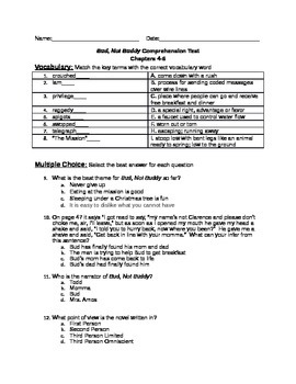 Bud, Not Buddy-Chapter 4-6 comprehension test