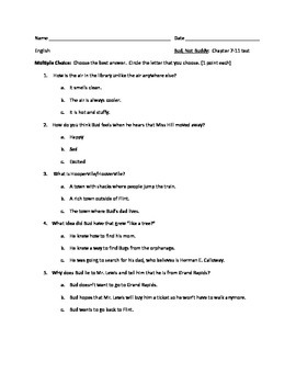 Bud, Not Buddy Chapter 7-11 Comprehension Test