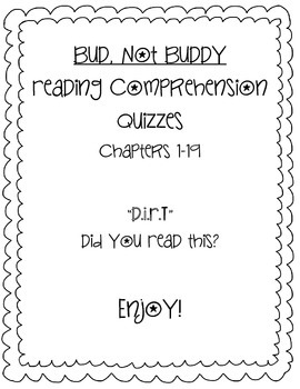 Bud, Not Buddy Chapter Quizzes for Entire Novel