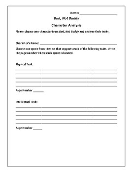 Bud, Not Buddy Character Analysis - Christopher Paul Curtis