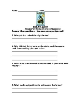 Bud Not Buddy Comprehension Questions & Activities