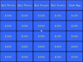 Bud, Not Buddy Jeopardy Style Game