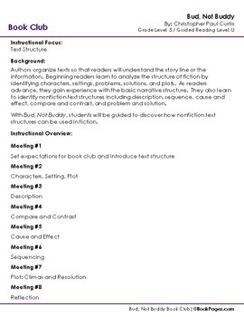 Bud, Not Buddy Lesson Plan  (Book Club Format - Text Structure) (CCSS)