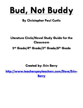 Bud, Not Buddy Literature Circle/Novel Study Guide