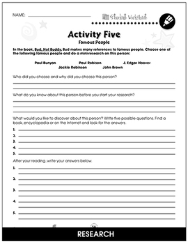 Bud, Not Buddy - Literature Kit Gr. 5-6 - BONUS WORKSHEETS