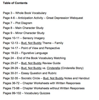 Bud, Not Buddy Novel Literature Guide