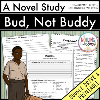 Bud Not Buddy Novel Study Unit Comprehension Vocabulary Activities Tests