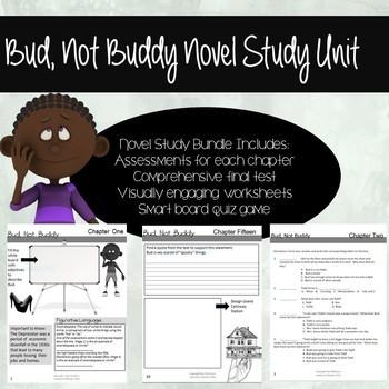 Bud, Not Buddy Novel Study Bundle (Chapter Work, Game, Ass