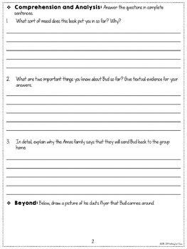 Bud, Not Buddy Novel Study Unit: FREE Sample