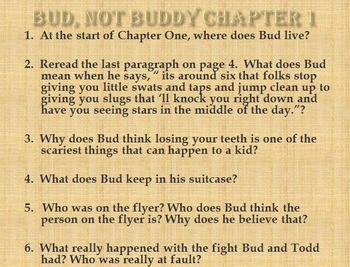 Bud, Not Buddy Powerpoint Study Guide
