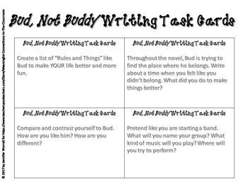 bud not buddy worksheets switchconf bud not buddy quick quote task cards and writing prompts tpt