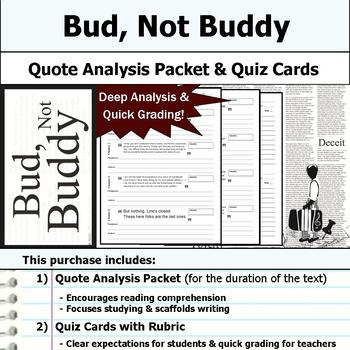 Bud, Not Buddy - Quote Analysis & Reading Quizzes