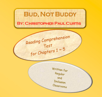 Bud, Not Buddy Reading Comprehension Test ~ Free Sample