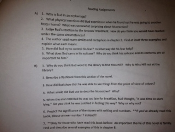 Bud, Not Buddy Reading Guide with Comprehension Questions