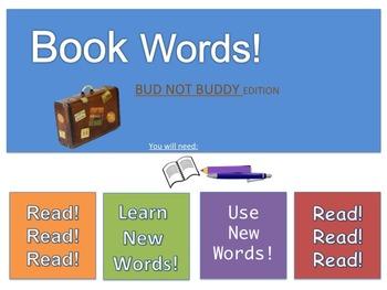 Vocabulary Activity ~Book Words: Bud Not Buddy Version